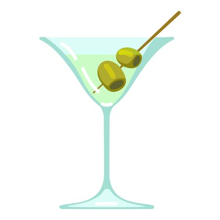 Vector Color Flat Icon - Martini Glass on White Background
