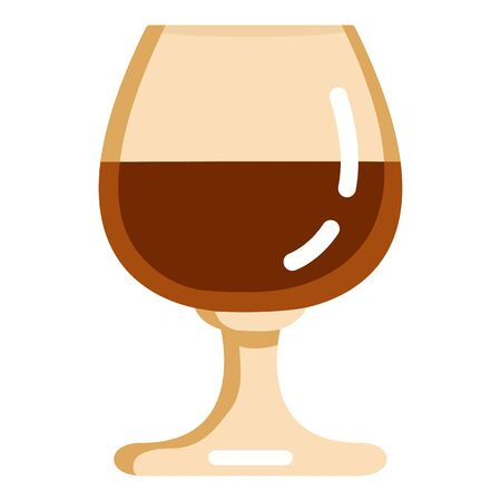 Vector Color Flat Icon - Cognac Glass on White Background  イラスト・ベクター素材
