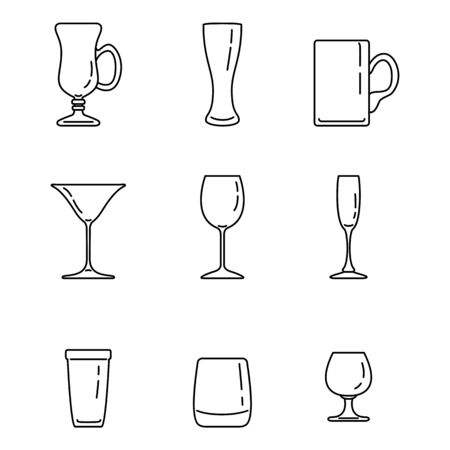 Vector Set of Outline Alcohol Drinking Glass Icons