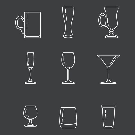 Vector Set of White Outline Alcohol Drinking Glass Icons on Dark Background