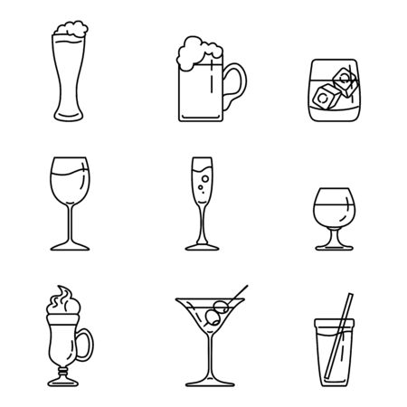 Vector Set of Outline Alcohol in Glasses Icons