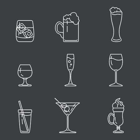Vector Set of White Outline Alcohol Icons on Dark Background  イラスト・ベクター素材
