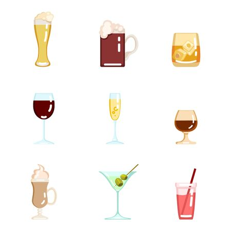 Vector Set of Flat Color Alcohol Icons
