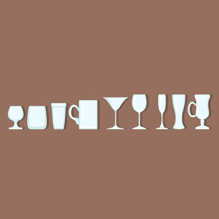 Vector Set of Empty Alcohol Drinking Glass Flat Icons