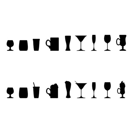 Vector Set of Alcohol Drinking Glass Silhouettes  イラスト・ベクター素材