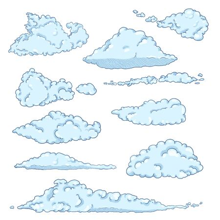 Vector Set of Cartoon Clouds on White Background