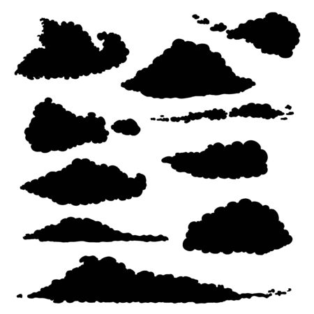 Vector Set of Black Silhouette Clouds Illustration