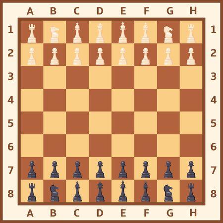 Chess Board with Black and White Figures. Vector Illustration Ilustração Vetorial