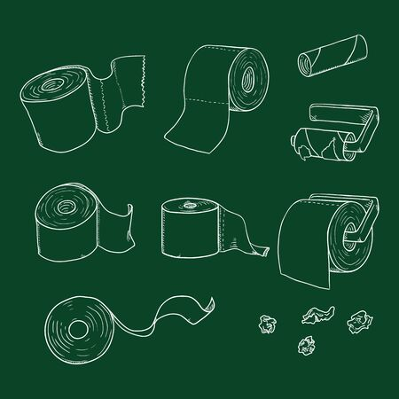 Vector Set of Chalk Sketch Toilet Paper Illustrations Stock Illustratie