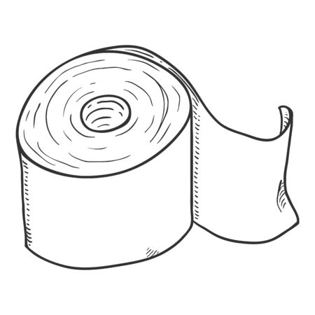 Vector Sketch Toilet Paper Roll