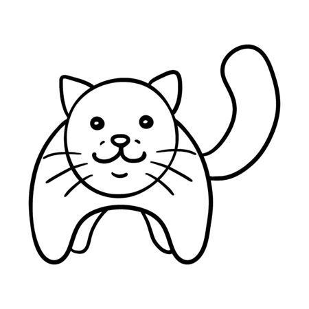 Vector Outline Character - Funny Cat