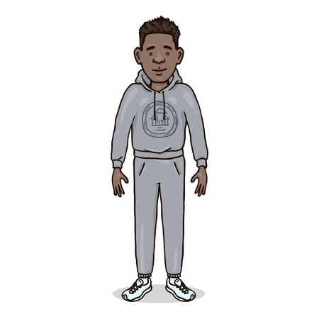 Vector Cartoon Character - Afro American Man in Gray Sport Suit and Running Shoes