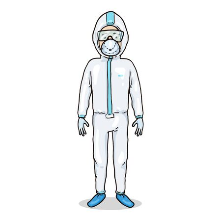 Vector Cartoon Character - Man in Biosecurity Uniform Gown, Mask and Gloves. Pandemic Illustration