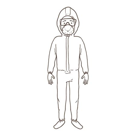 Vector Outline Character - Man in Biosecurity Uniform Gown, Mask and Gloves. Pandemic Illustration