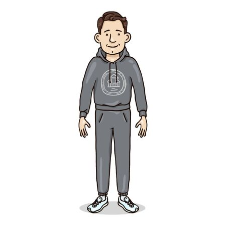 Vector Cartoon Character - Young Man in Gray Sport Suit and Running Shoes