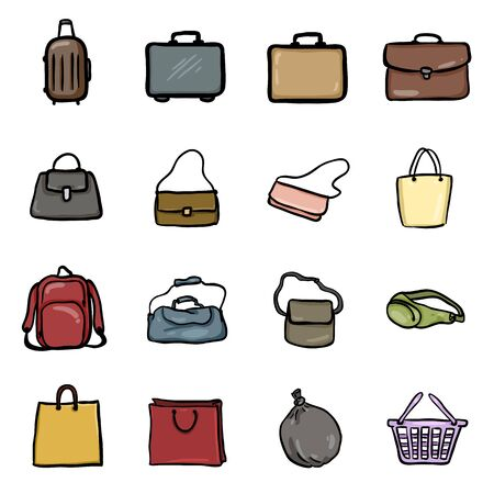 Vector Set of Cartoon Doodle Bag Icons