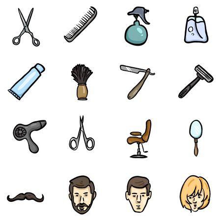 Vector Set of Color Doodle Barber Shop Icons