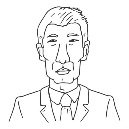 Vector Outline Avatar - Old Asian Man in Business Suit. Male Character Portrait.
