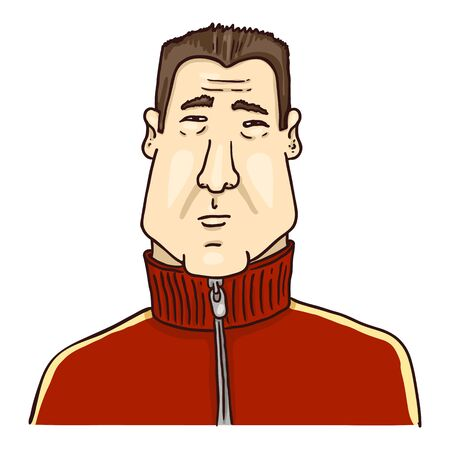 Vector Cartoon Avatar - Young Asian Man in Red Jacket. Male Character Portrait. Vektorgrafik