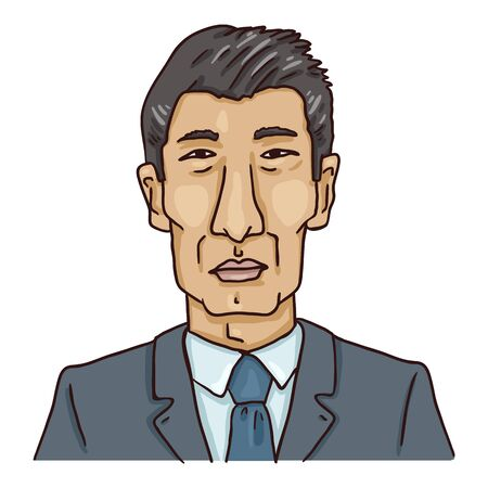 Vector Cartoon Avatar - Old Asian Man in Business Suit. Male Character Portrait.