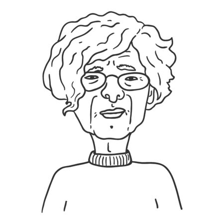 Vector Outline Character - Old Woman in Eyeglasses. Female Retired Person Portrait. Stock Illustratie
