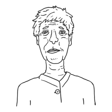 Vector Outline Character - Old Woman. Female Retired Person Portrait.