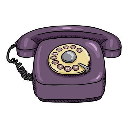Vector Cartoon Retro Purple Rotary Telephone. Front View.