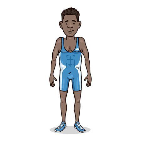 Personnage de dessin animé de vecteur - jeune homme africain en équipement de lutte bleu