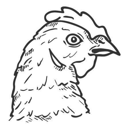 Hand Drawn Hens Head. Vector Sketch Illustration of Chicken Vectores