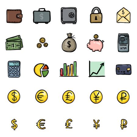 Vector Set Of Color Doodle Finance Icons Vectores
