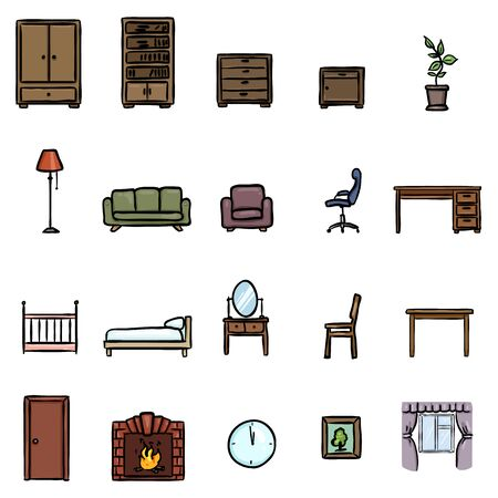 Vector Set of Color Doodle Furniture Icons Vectores