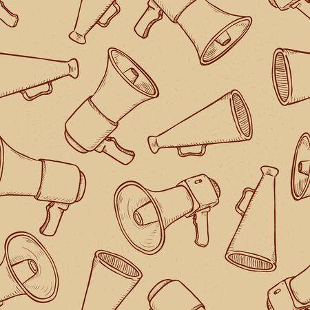 Vector Seamless Pattern of Sketch Loudspeakers on Brown Craft Paper Backround Stok Fotoğraf - 148121839