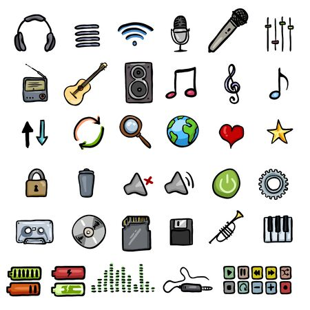 Vector Set of Color Doodle Music icons Stok Fotoğraf - 147992936