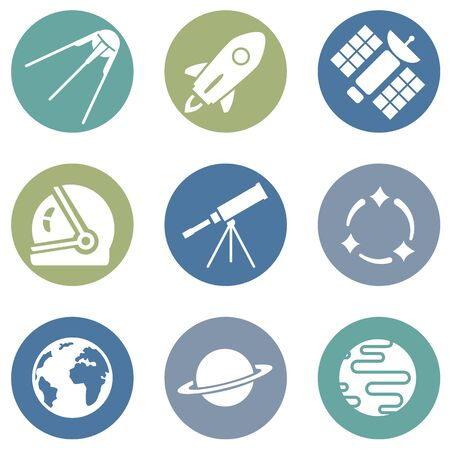Vector Set of Space Icons. Astronomy Symbols.