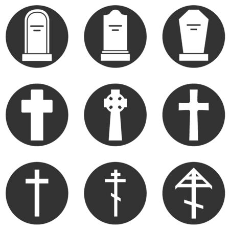 Vector Set of Cemetery Icons. Headstones, Gravestones, Tombstones and Crosses.
