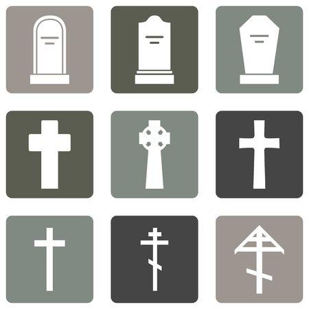 Vector Set of Cemetery Icons. Headstones, Gravestones, Tombstones and Crosses.
