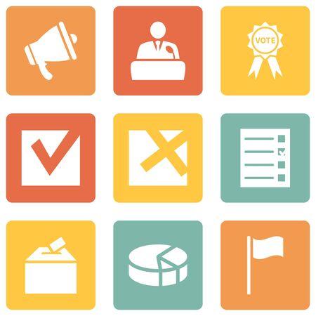 Vector Set of Elections Icons. Politics Vote Pictograms. Ilustración de vector