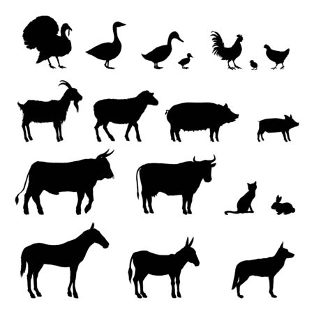 Vector Set of Farm Animals Silhouettes. Collection of Rustic Pets Black Icons Vecteurs
