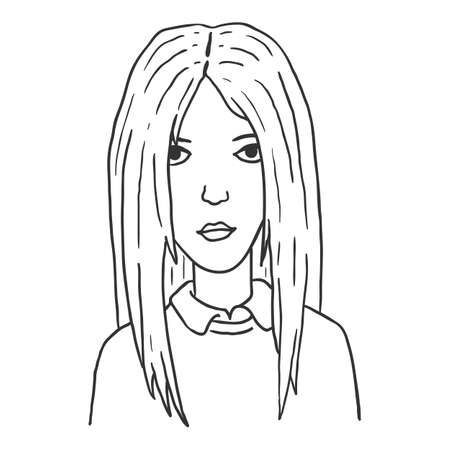 Vector Outline Character - Young Woman. Female Portrait.
