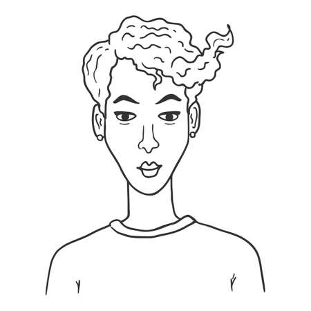 Vector Outline Character - Woman with Short Hair. Female Portrait.