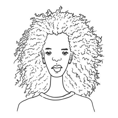 Vector Outline Character - African American Woman. Female Portrait. 일러스트