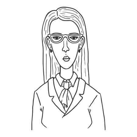 Vector Outline Character - Woman in Suit and Eyeglasses. Female Portrait. Ilustrace