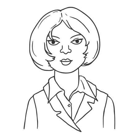 Vector Outline Character - Young Woman with Short Hair. Female Portrait.