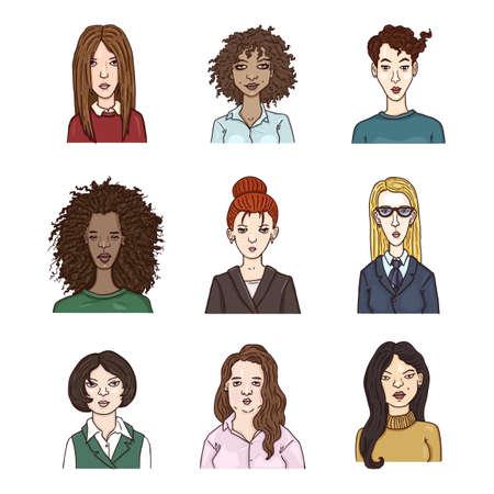 Vector Set of Cartoon Women Faces. Multicultural Female Team. Illustration