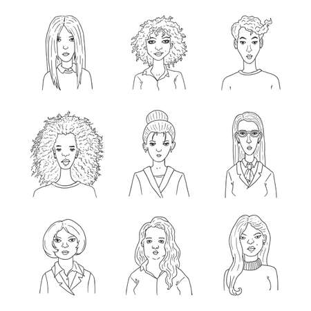 Vector Set of Outline Women Faces. Multicultural Female Team. Ilustrace