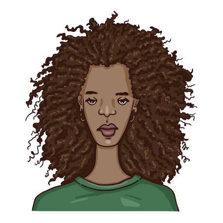 Vector Cartoon Character - African American Young Woman. Female Portrait.