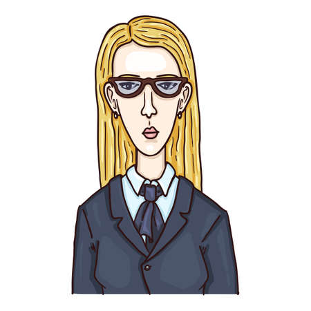Vector Cartoon Character - Woman in Eyeglasses and Suit. Female Portrait. Ilustrace