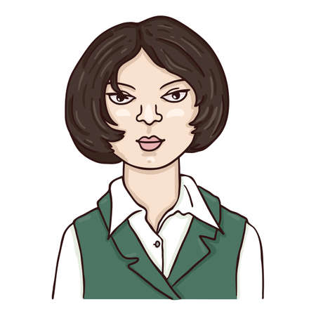 Vector Cartoon Character - Young Woman with Short Hair. Female Portrait.