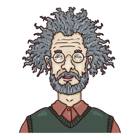 Vector Cartoon Character - Old Man with Curly Hair and Eyeglasses. Male Retired Person Portrait.