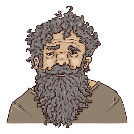 Vector Cartoon Character - Shaggy Old Man with Huge Beard. Male Retired Person Portrait.